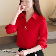 Korean Silk Women Shirts Women Satin Blouse Shirt Plus Size Woman Long Sleeve Blouse Women V-neck OL Shirts Blusas Mujer De Moda