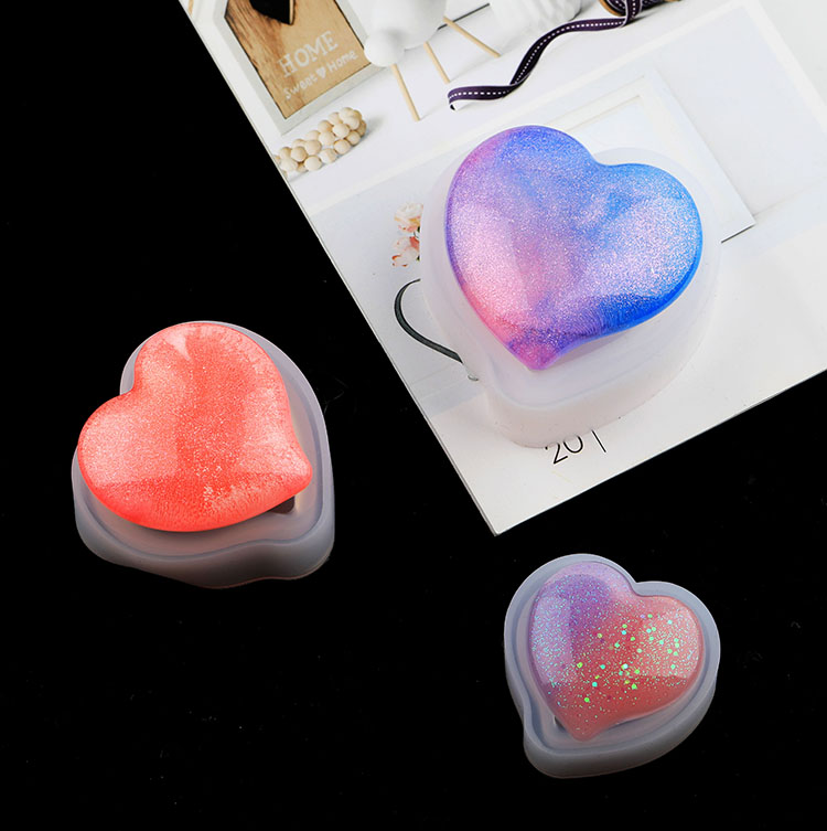 Diy Crystal Silicone Soap Mold Cake Mold Jewelry Love Highlights Mirror Size Peach Heart Silicone Molds Heart Cake Moulds