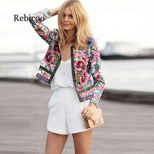 2019 Women Jackets Bohemian Floral Embroidery Collarless Out