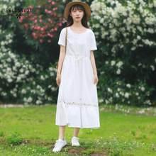 Mori menina bordado floral midi vestido feminino verão rendas até algodão linho manga curta elegante festa feminino vestido longo