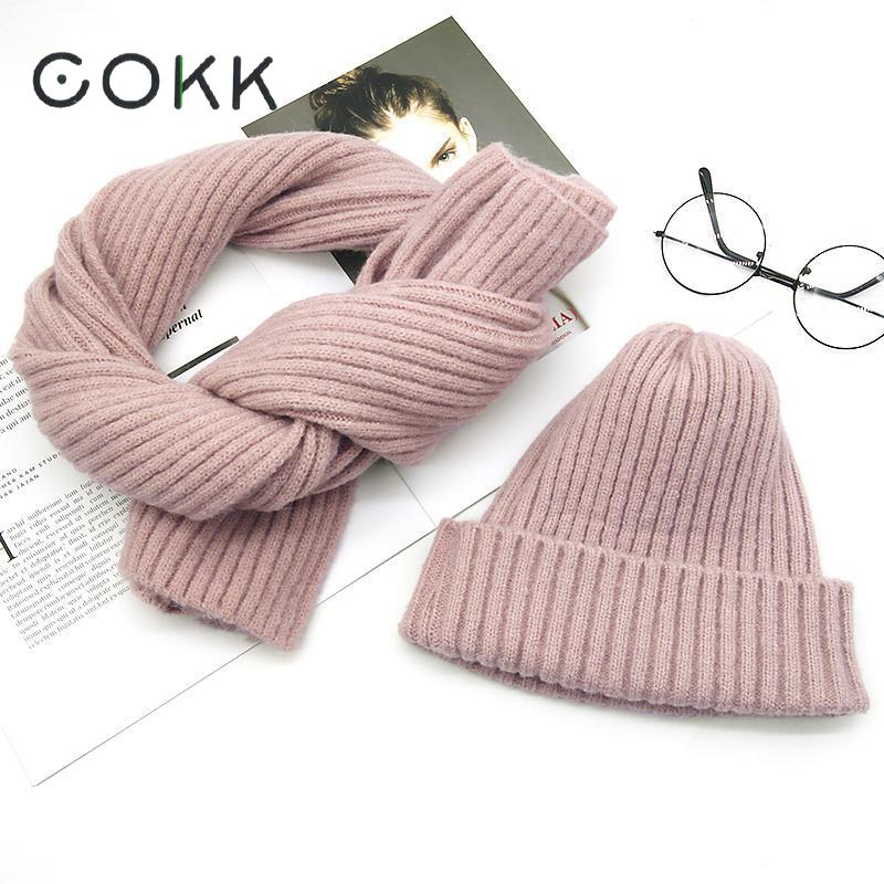 COKK Knitted Hat With Scarf Winter Warm Ladies Hat & Scarf Stretch Hats For Women Girls Two Piece Set Ear Protection Soft Warm
