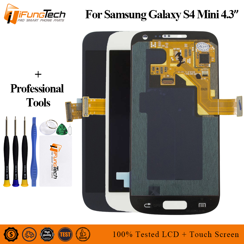 AMOLED Display For Samsung Galaxy S4 Mini i9190 i9192 i9195 Lcd Touch Screen Digitizer 4.3'' For Samsung S4 Mini Lcd + Frame image