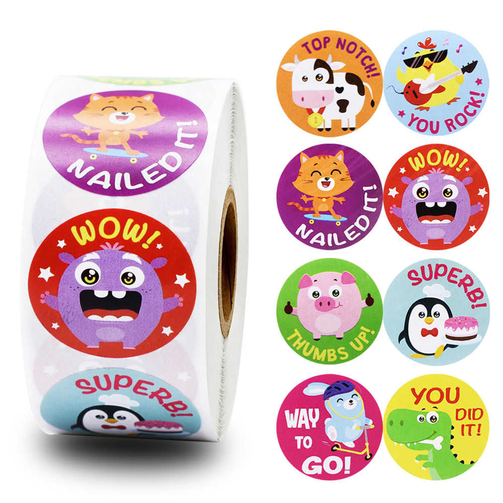 500pcs/roll Cute Animals Reward Stickers For Teachers Students For Kids In 8 Designs Training Stickers Motivational Stickers