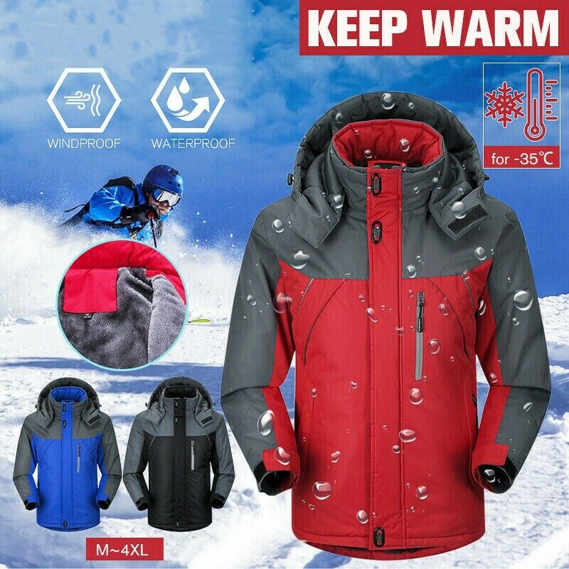 Men Ski Jackets Windproof Waterproof Winter Warm Outdoor Sport Fleece Jacket Snow Skiing Snowboarding Hiking Trekking Coats 2019