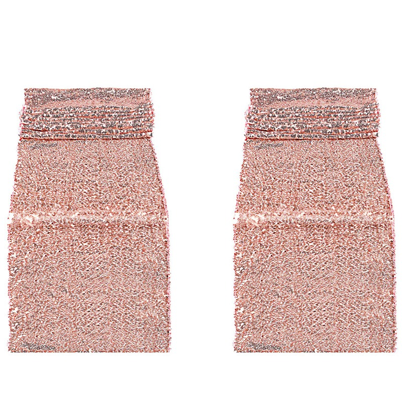 New-2Pcs Rose Gold Sequins Table Flag Birthday Wedding Engagement Bride Shower Baby Shower Single Holiday Celebration Party Deco title=