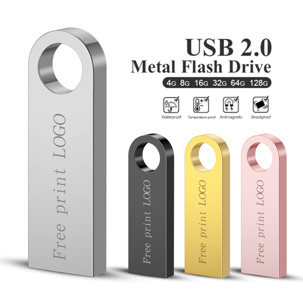 New Metal Usb Flash Drive 128GB 64GB 32GB Pen Drive Pendrive 16GB 8GB 4GB Flash Memory Stick U Disk Cle Usb 2.0 Free Custom LOGO