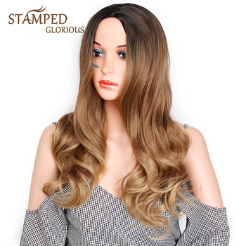 Stamped Glorious Long Hair  Wave Wig Ombre Black Brown Wavy Synthetic Wig for Women Middle Part High Temperature Fiber