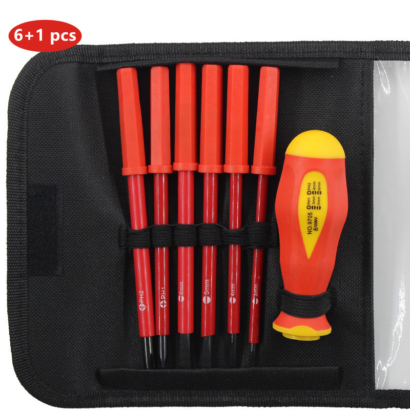 Insulated Screwdriver Set 7 Piece Milwaukee Electrical Electrician Hand Tool Multifunctional Opening Repair Precision Tool Set
