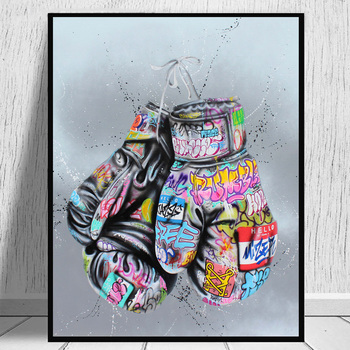 Boxing Gloves Graffiti Art Posters and Prints on The Wall Canvas Painting Street Wall Art Picture for Living Room Home Decor graffiti art colorful rain prints on canvas modern canvas painting wall art posters and prints for living room home decoration