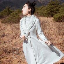 COIGARSAM Vintage Full Sleeve Women Wool Blends Coat Winter
