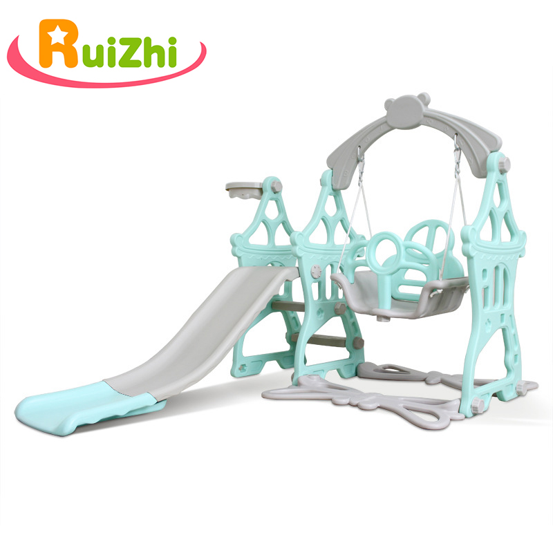 Ruizhi Children Castle Three-In-One Slide Set With Swing Basketball Frame Baby Indoor Family Playground Kids Toys Gifts RZ1097