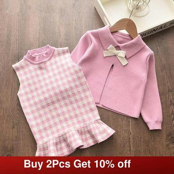 gusti children s sets 9512001 clothing for girls set dress winter clothes girl kids wear Melario Baby Girl Clothing Set Cute Bow Sweaters Plaid Dress Girls Elegant Clothes Sets Party Birthday Wear Kids Clothing