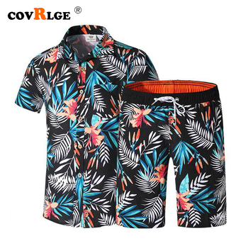Mens Ethnic Short Sleeve Beach Hawaiian Shirt And Shorts Tropical Summer Printing Button Down Suits Outfit MSX011