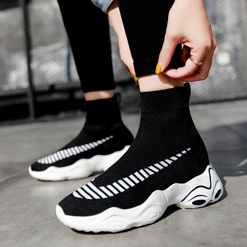 MWY Breathable Elasticity Socks Sneakers Platform Unisex Footwear Casual Shoes Flats Women Ankle Boot Dames SchoenenWomens Flats   -