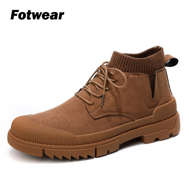 Ankle Boots Winter Pu Leather Men Work Shoes Round Toe Lace-Up Black casual shoes sock style work
