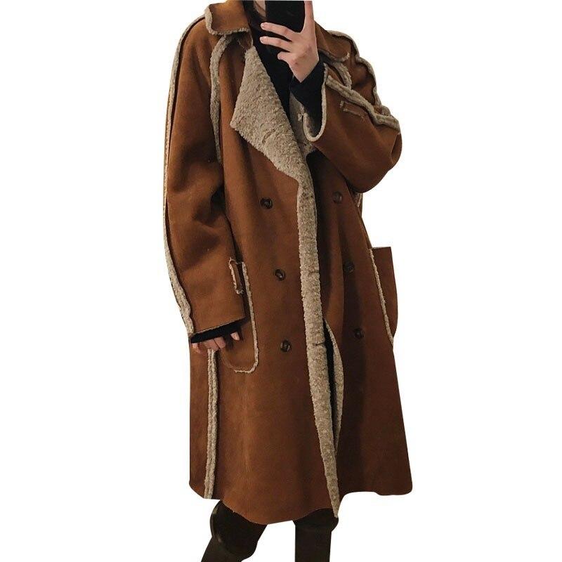 2019 Winter Fur Coat Women Both Side Wear Lamb Shearling Jacket Faux Lamb Wool Fur Suede Leather Maxi Coat Loose Female Outwear