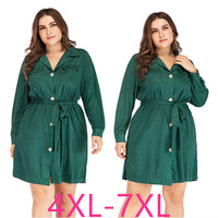 2019 fashion autumn winter plus size dress for women large loose casual long sleeves V neck short dresses green 4XL 5XL 6XL 7XL