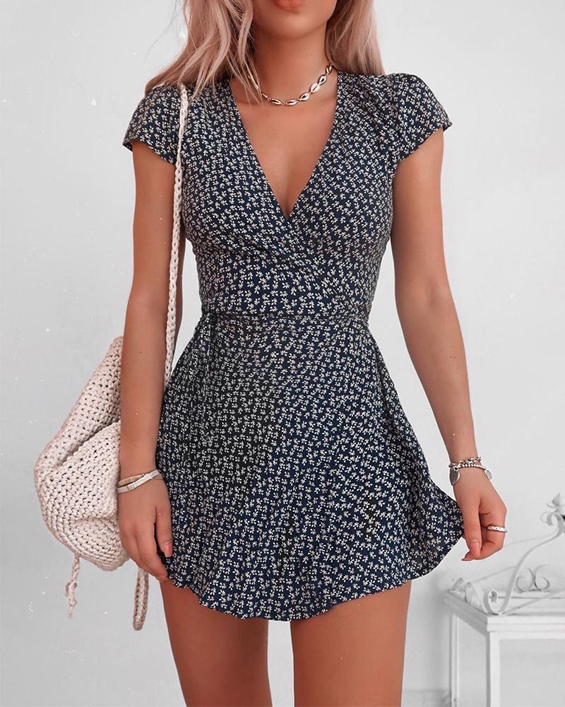 2020 Summer Women Fashion Printed Casual Short Dress  Floral V-Neck Short Sleeve Mini Dress