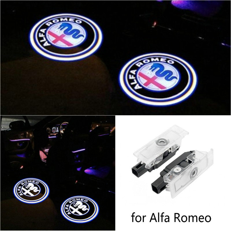 2pcs For Alfa Romeo 159 LED Car Door Welcome Light Logo Projector For Alfa Romeo 147 156 Giulietta Giulia Mito Stelvio Brera Spider
