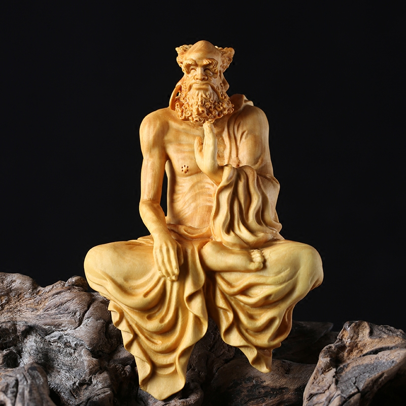 Indian Religions Dharma Boxwood Carving Home Feng Shui Carving Handicrafts Carved Wooden Buddha Furnishings Dharma Zen