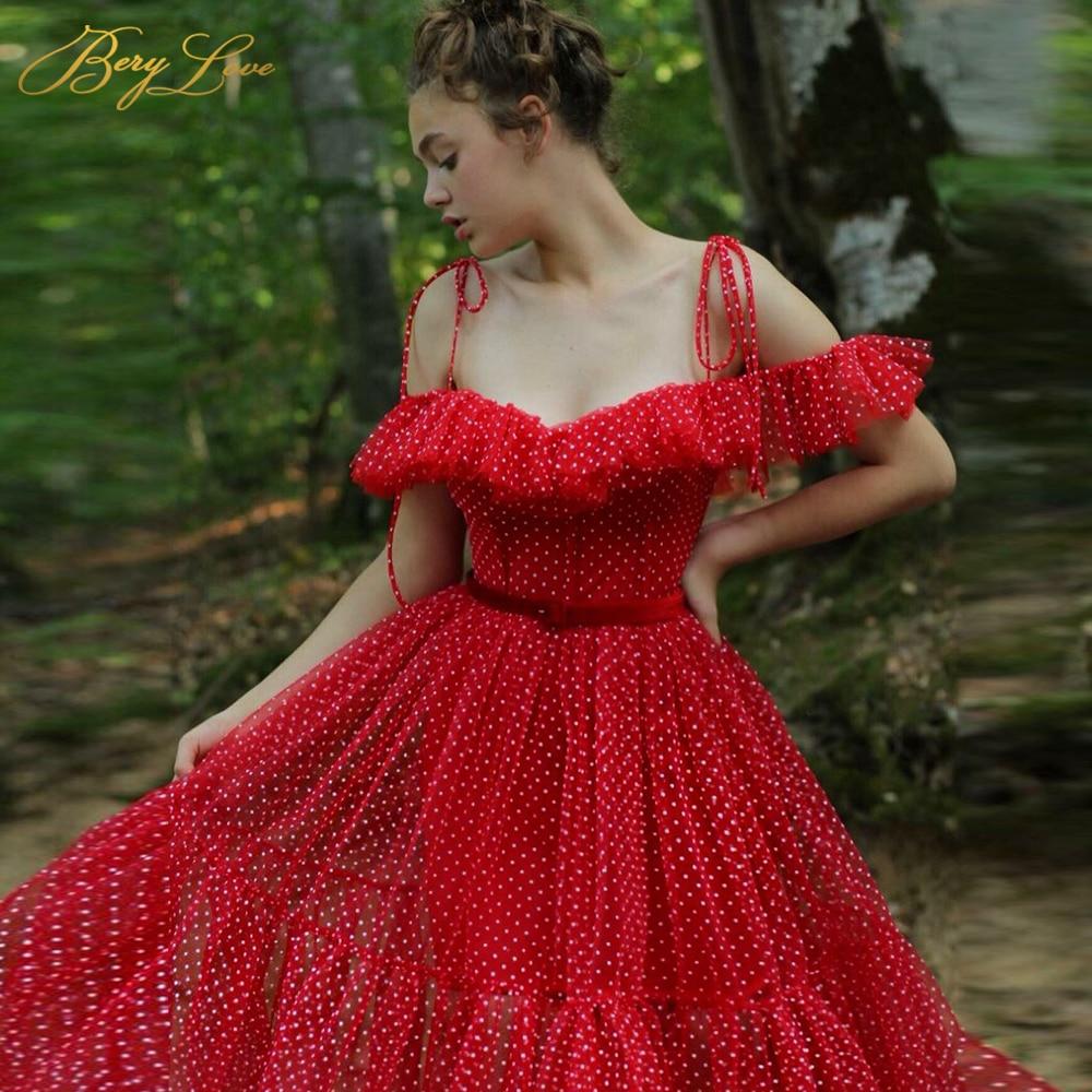 Red Prom Dress 2020 Long Dot Tulle A Line Party Dress Off The Shoulder Formal Elegant Young Girl Dress Vestido Evening Dress