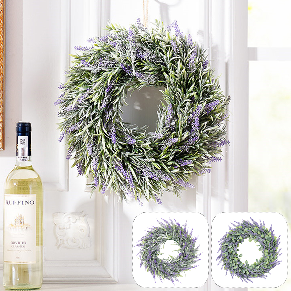 Artificial Lavender Spring Wreath Artificial Round Wreath Flowers Door Hanging Wall Window Wedding Party Christmas Decor