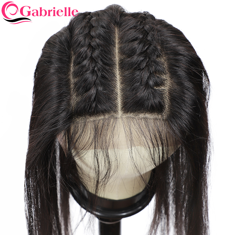 Gabrielle Lace Closure Human-Hair-Extensions Remy-Hair Straight Brazilian 6x6 with Free/middle/three-part