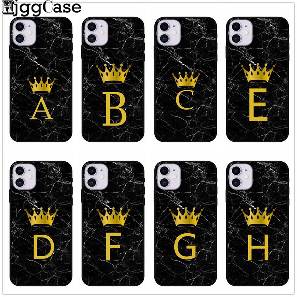 Etui Pour Iphone 11 Pro X Se 5 5s 6 6s 7 8 Plus Couronne Roi Lettre A B C D E F G I J Tpu Coque Souple X Xs Max Xr Housse Capa Aliexpress