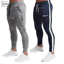 Siteweie joggers de algodão dos homens do esporte correndo calças de fitness calças esportivas moletom moletom moletom magro calças ginástica l247