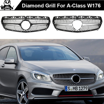 Diamond Front Grille For Mercedes Benz A-Class W176 Gloss Black Without Emblem Badge ABS Replacement 2013-15 A180 A250 A200 A300 fits for mercedesmb w117 gts grille grill sport abs gloss black cla class cla200 cla180 cla250 without sign front grills 2016 in