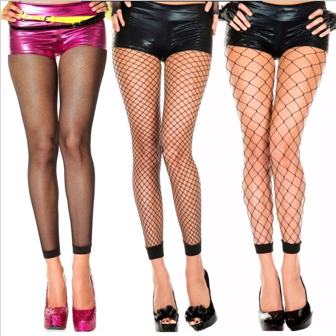 Womens Footless Tights Black Fishnet Floral Delight Pantyhose Dance Hosiery Fish Net Stockings Size UK 8-14