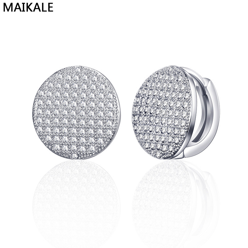 MAIKALE Round Earrings Hypoallergenic Gold Micro-inlaid Cubic Zirconia Stud Earrings For Women Fashion Jewelry To Friend Gift