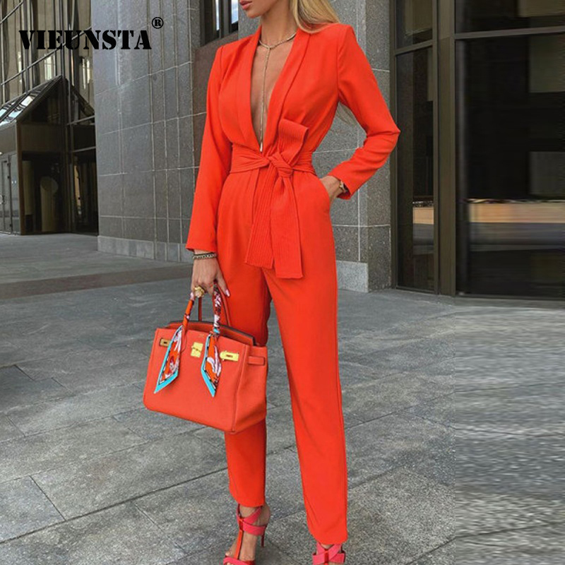 Office Lady Deep V Neck Jumpsuit Party Romper Autumn Winter Long Sleeve Knot Side Jumpsuit Women Pocket Workwear Formal Bodysuit