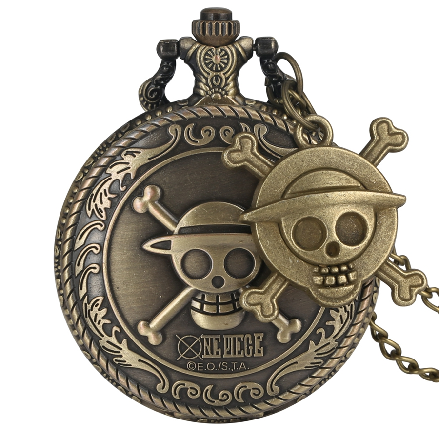 Vintage Pirate Luffy One Piece Quartz Pocket Watch Men's Clock Women's Gift Unique Cosplay Pendant Reloj With Skull Accessory