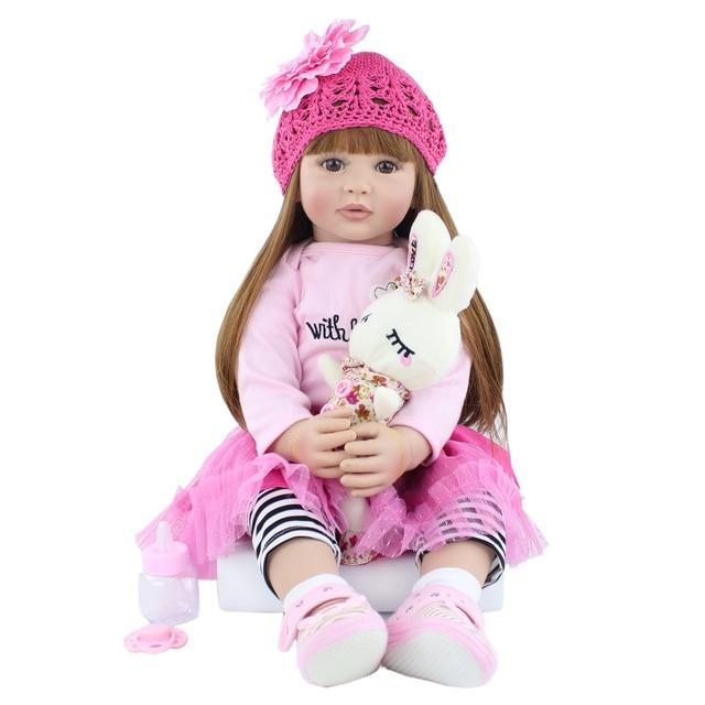 60cm Silicone Reborn Baby Doll Toy Realistic Vinyl Princess Toddler Bebe Doll Child Birthday Gift Girl