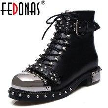 FEDONAS فاسق بوط من الجلد الطبيعي النساء المسامير ساحة الكعوب الخريف الشتاء حذاء من الجلد أحذية مثيرة امرأة دراجة نارية الثلوج الأحذية
