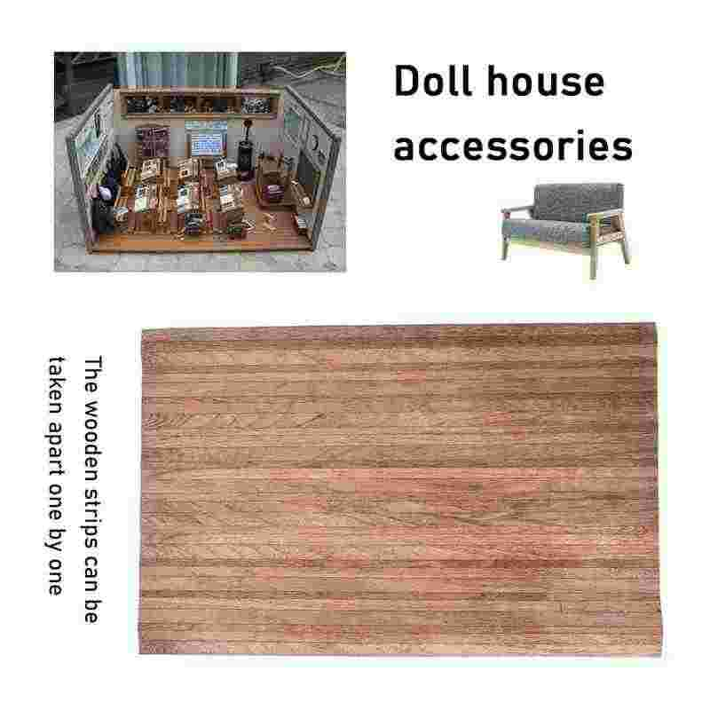 1:12 Dollhouse Simulation Coffee Color Wood Floor And Wallpaper Model Toy For DIY Doll House Accessories Doll House Decoration
