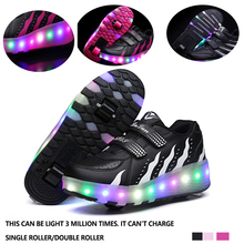 Shoes Sneakers Led-Lighting-Shoes Sports Kids Double-Single/Roller Women Child Up Glowing