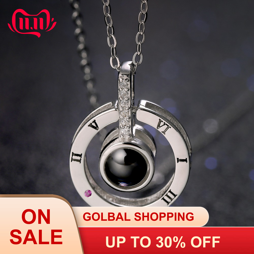 S925 sterling silver love memory necklace 100 languages I love you crystal pendant necklace couple necklace