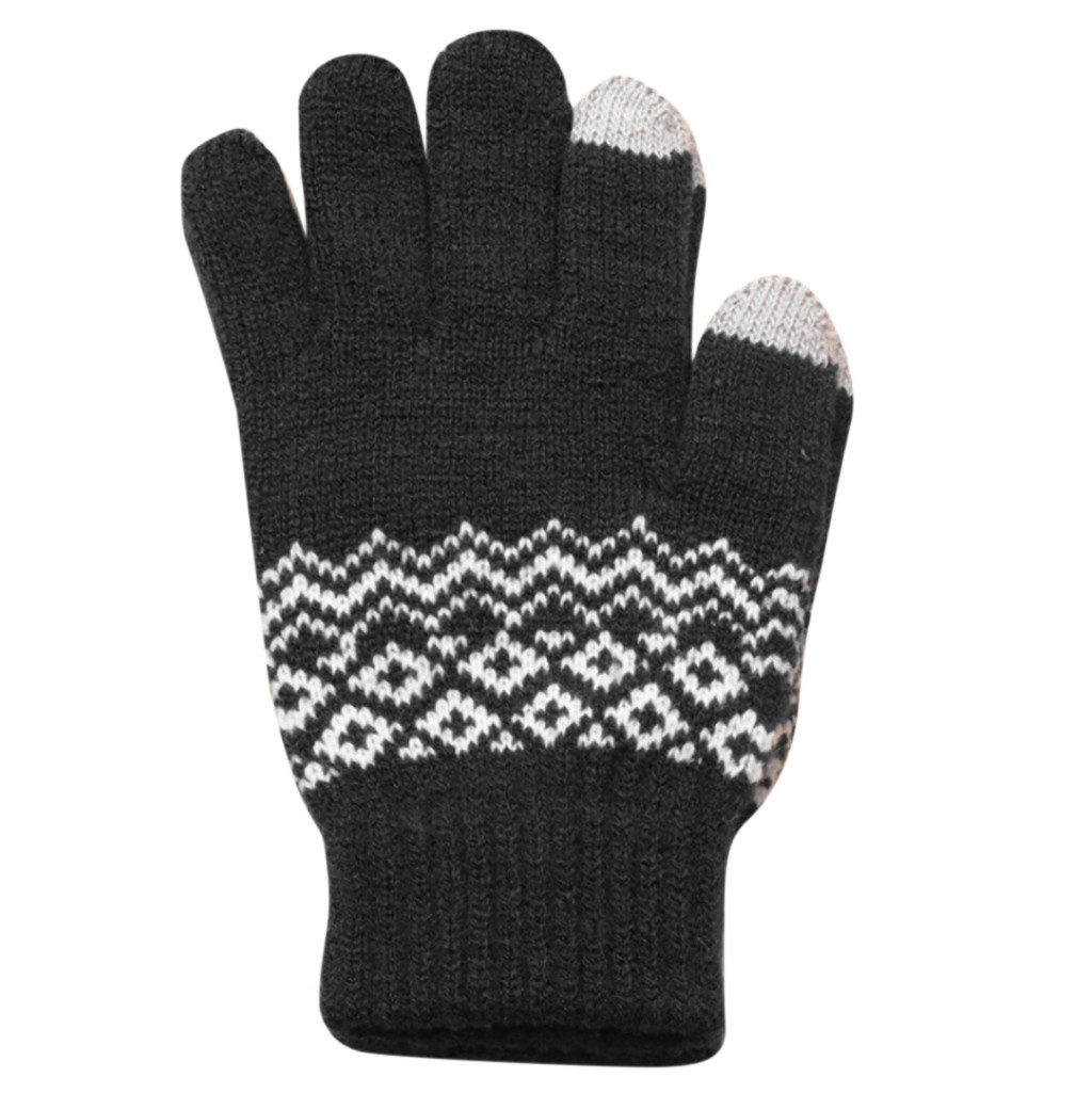Sleeper #P501 2019 Women Men Winter Full Finger Geometric Knit Click Screen Fingers Screen Warm Fleece Gloves Luvas перчатки Hot