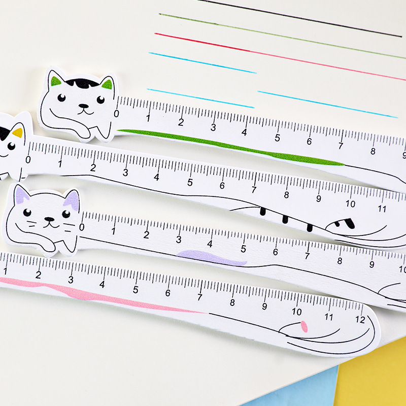 40pc/lot  Cute  Cartoon Cat Animal Stationery Ruler / Student Wood 12m Scale Measuring Ruler / Drawing Learning Supplies