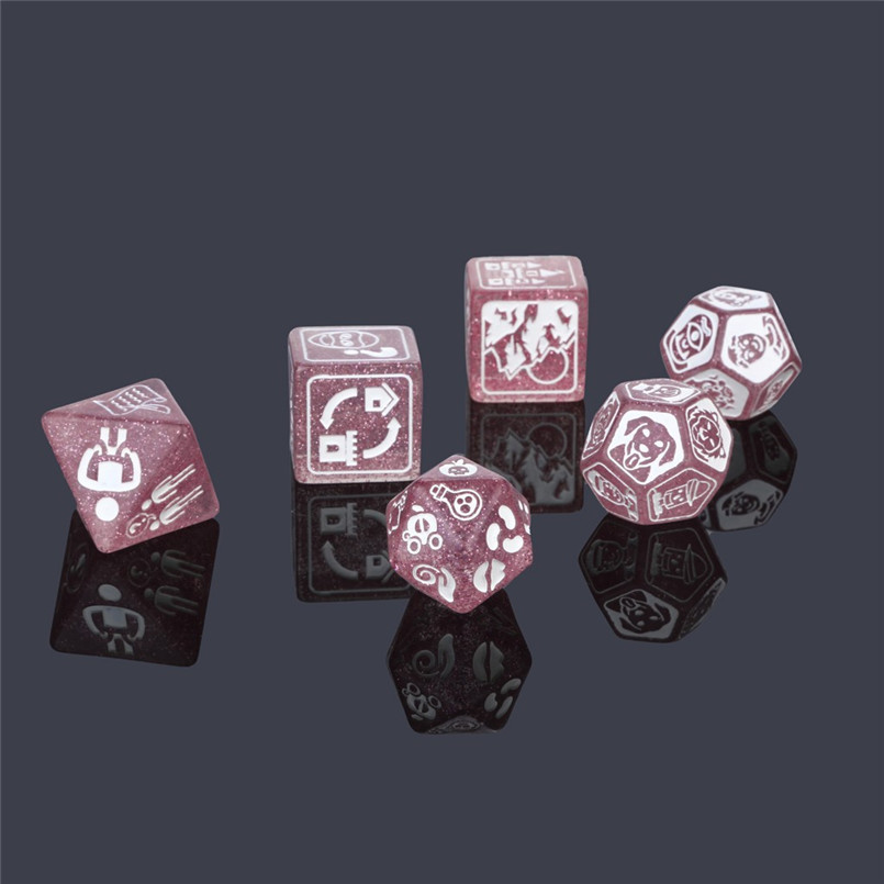 7Pcs party story poly dice time dice polyhedron multi-faceted acrylic dice set dnd new dados poliedricos  dadi da gioco 30A20 (8)