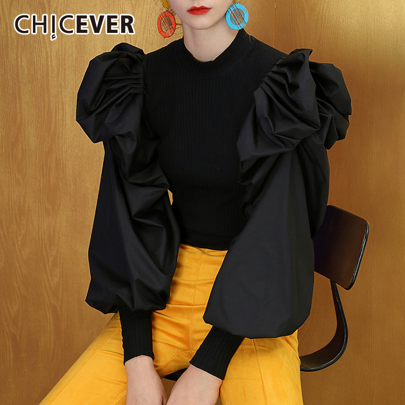 CHICEVER Patchwork Knitting Women's Sweater O Neck Puff Sleeve Large Size Pullover Sweaters Female 2019 Fashion New Clothes