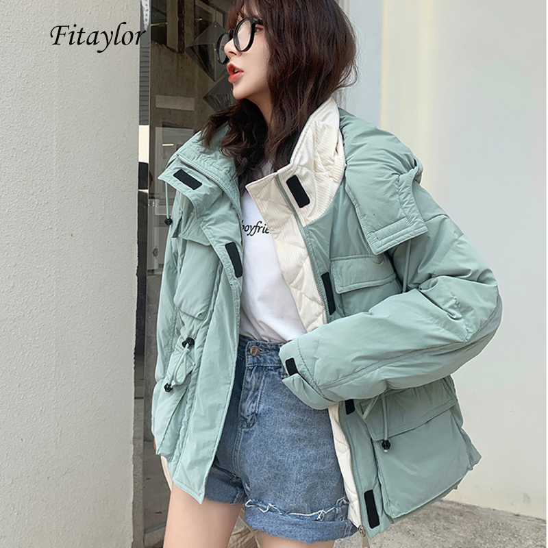 Fitaylor Winter Hooded 90% White Duck Down Parka Women Hat Detachable Down Short Jacket Overcoat Female Warm Sash Tie Up Outwear