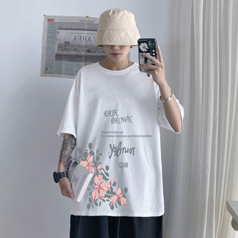 2020 summer O-neck Flower printing <font><b>Hong</b></font> <font><b>Kong</b></font> style men loose chinese T-shirt cotton casual couple Hip Hop <font><b>tshirt</b></font> plus size M-5XL image