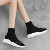 2019 Women Sports Elastic Socks Sneakers High Top New Breathable Flying Socks Shoes Ladies Flat Walking Shoes Platform Winter