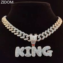 Men Women Hip Hop KING Letter Pendant Necklace with 13mm Miami Cuban Chain Iced Out Bling Bling HipHop Necklaces Fashion Jewelry