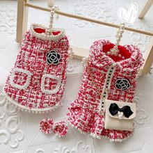 Handmade Tweed Pet Clothes Dog Coat Couples Dress Vest Outfit Red Ice Cream Color Pearls Skirt C**L Style Chain Bag Accessories(China)