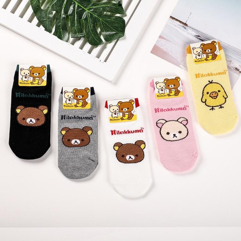 Cartoon Rilakkuma Print Socks Korilakkuma Kiiroitori Bear Cute Fun Women Cotton Sock Absorb Sweat Breathable Calcetines Mujer