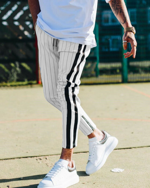 2019 New Mens Slim Fit Tracksuit Sport Gym Skinny Jogging Street Striped Joggers Sweatpants Casual Work Trousers